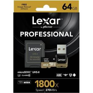Lexar MicroSDHC 64 GB UHS-II 1800x U3 Classe 10 adattatore