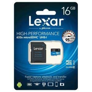 Lexar 16gb micro SDXC UHS-I 633X U1 95MB/s class 10 Adattatore SD Incluso